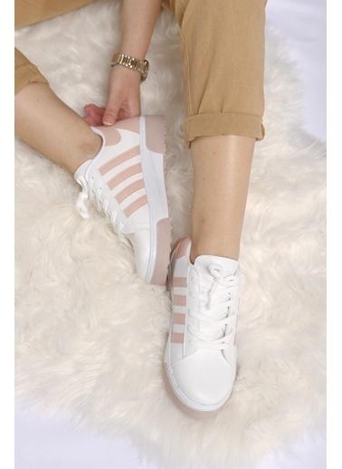 Oksit Agnes Bantlı Kalın Taban Kadın Sneaker Pudra